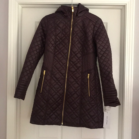 Via Spiga Jackets & Blazers - Via Spiga Lightweight Puffer Coat Jacket Purple
